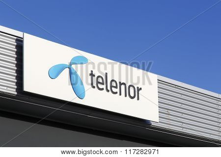 Telenor logo on a facade