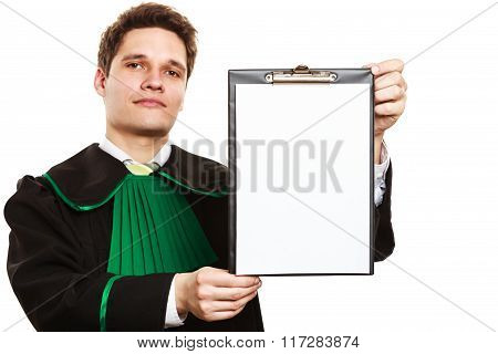 Lawyer Show Clipboard With Blank Paper.
