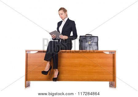 Woman with lots of paperwork isolated on white