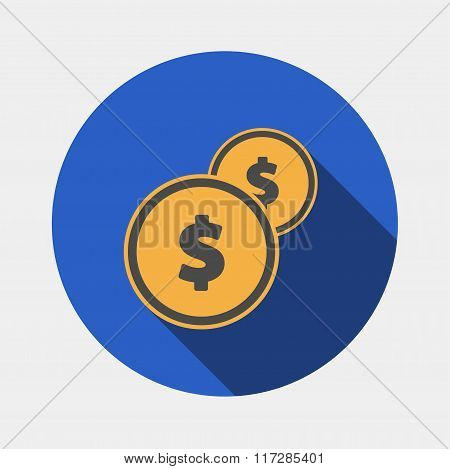 Vector Coins Icon with dollar sign.