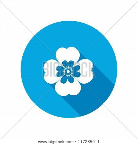 Chamomile, forget-me-not flower icons. Floral symbol. Round blue circle flat icon with long shadow.