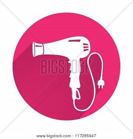 Professional blow hairdryer and two-pin plug icon. Magenta colored sign on gray-blue button backgrou