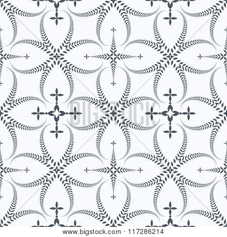Religion seamless pattern. Laurel wreath, lace view texture with cross. Ceremonial, funeral backgrou