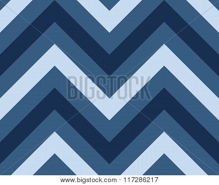 Striped, zigzagging seamless pattern. Zig-zag line texture. Stripy geometric background. Blue contra
