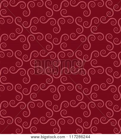 Spiral seamless lace pattern. Vintage texture. Abstract twirl figures of laurel leaves. Vinous, rose