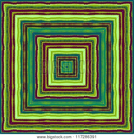 Striped rectangle pattern. Square lines with torn paper effect. Ethnic background. Brown, green