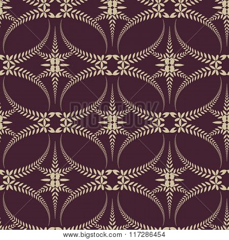 Religion seamless pattern. Laurel wreath, lace view texture with cross. Ceremonial background.