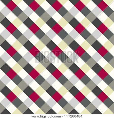 Seamless geometric checked pattern. Diagonal square, woven line background. Rhombus texture. Gray