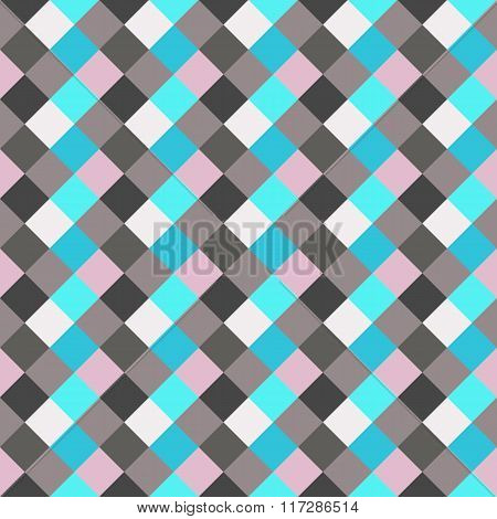 Seamless geometric checked pattern. Diagonal square, woven line background. Rhombus texture.