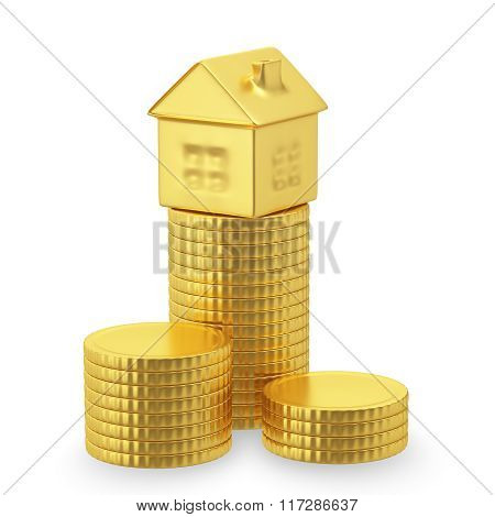 Gold coins and a small house