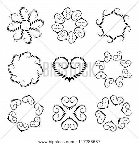 Laurel wreath tattoo set. Wheats with heart silhouettes. Spiral curled swirl signs on white backgrou