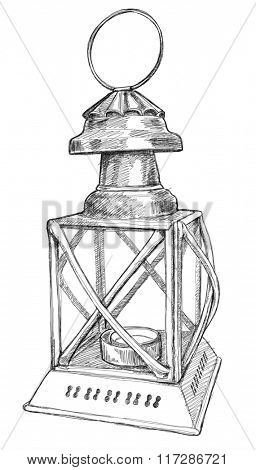 Vintage lamp with a candle - black and white illustration