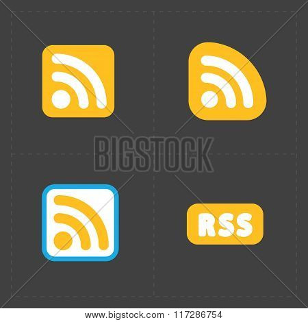 RSS sign icons. RSS feed symbols on Black Background.