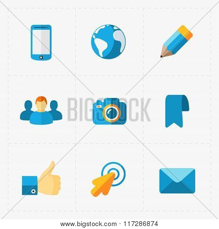 Modern colorful flat social icons set on White
