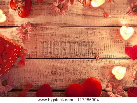 Mock Up With Candles, Flowers And Hearts On White Rustic Wooden Background With Copy Space For Text.