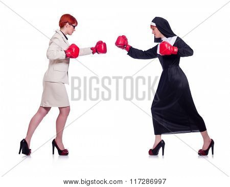 Businessman and nun boxing isolated on white