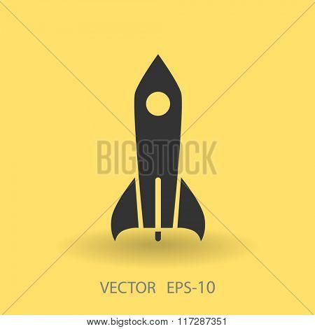 Flat  icon of rocket