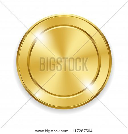 Blank round polished gold metal badge on white background. Vector illustration for your design and b