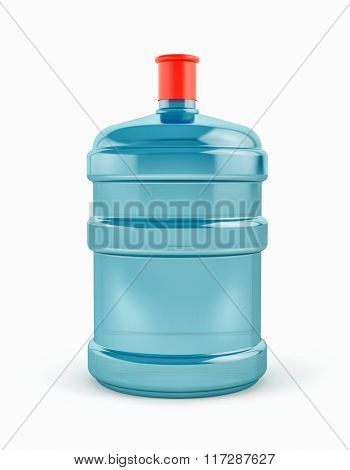 Big bottle of water on white background