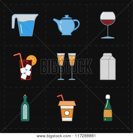 nine modern flat bar icons