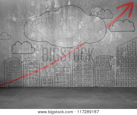 Concrete Wall With City Building Skyscrapers, Cloud, Red Arrow Doodles
