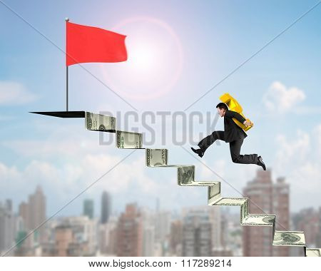 Man Carrying Gold Usd To Red Flag On Money Stairs