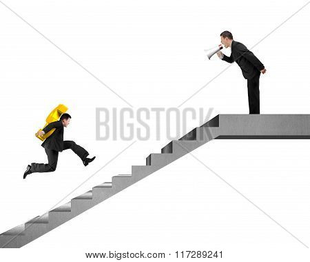 Businessman Carrying Usd Running On Stairs, Boss Holding Speaker Yelling