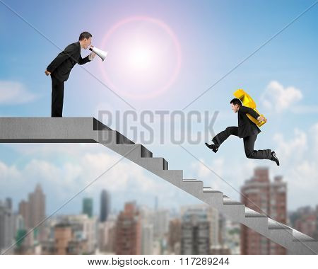 Businessman Carrying Usd With Boss Holding Speaker Yelling On Stairs