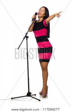 Woman singing in karaoke club on white