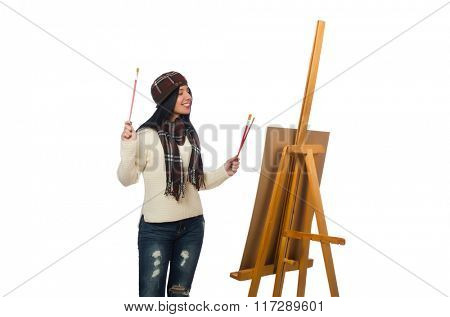 Woman artist isolated on the white