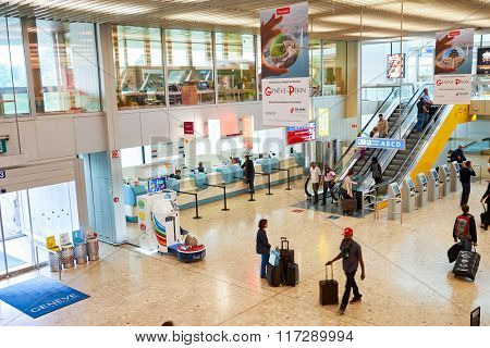 GENEVA, SWITZERLAND - SEPTEMBER 11, 2014: interior of Geneva Airport. Geneva Airport, formerly known as Cointrin Airport, is the international airport of Geneva.