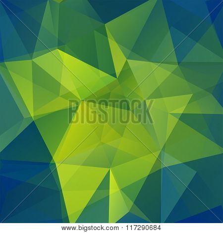Abstract Mosaic Background. Green, Blue Colors. Triangle Geometric Background. Design Elements. Vect