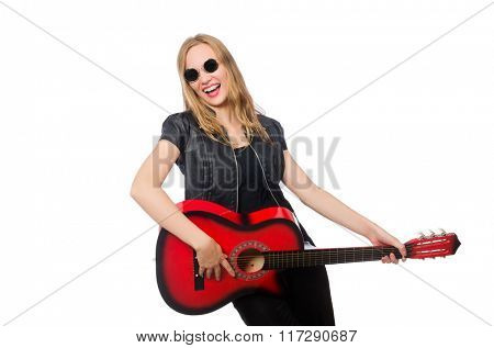 Young woman guitar player isolated on white