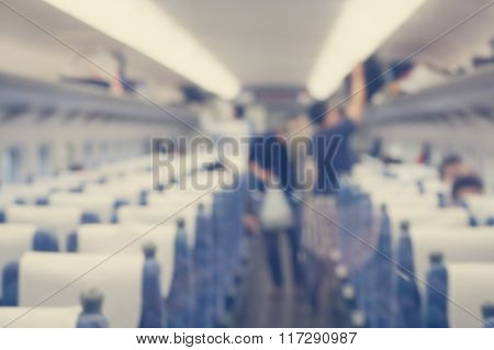 Abstract background interior of the train shallow depth of focus.