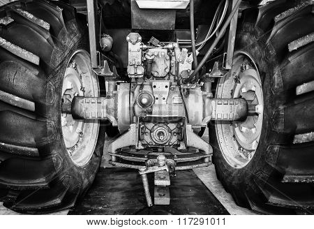 Rear tractor tires and axle