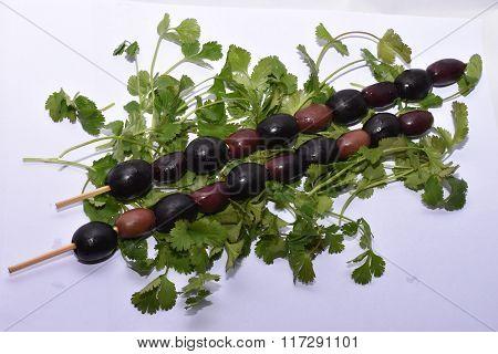 Olives on Cilantro