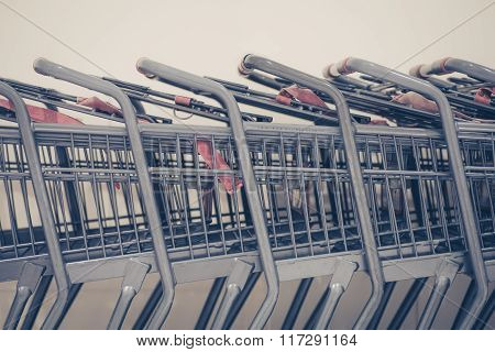 Close - up Row of shopping cart at departmentstore