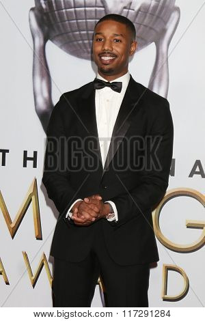 LOS ANGELES - FEB 5:  Michael B. Jordan at the 47TH NAACP Image Awards Press Room at the Pasadena Civic Auditorium on February 5, 2016 in Pasadena, CA