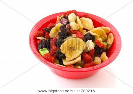 Pink Bowl With Dried Fruit