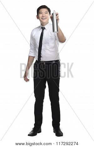 Asian Business Man Spraying Something