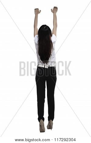 Asian Business Woman Hanging On Something