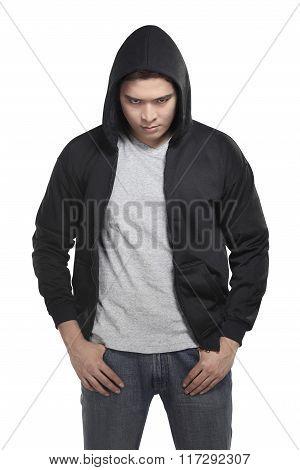 Asian Man In Hoodie Shirt
