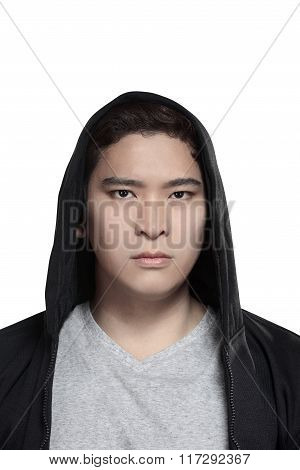 Asian Man In Hoodie Shirt