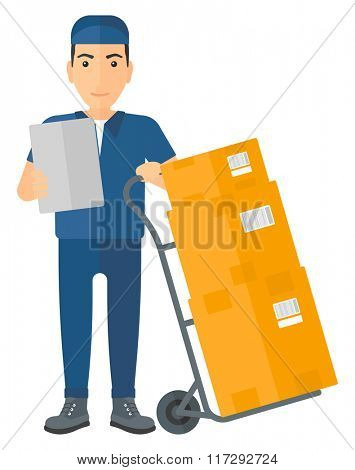 Man delivering boxes.