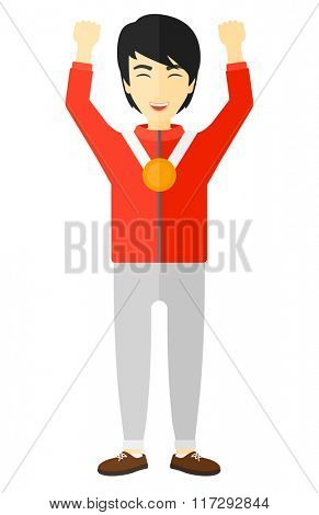 Athlete with medal and hands raised.