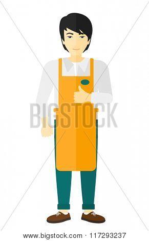 Friendly supermarket worker.