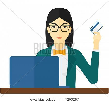 Woman making purchases online.