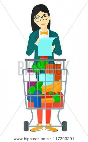 Woman with shopping list.