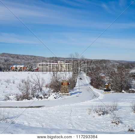 Winter View Of The Hotel In The Mountains.