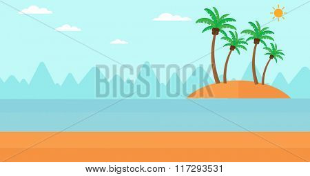 Background of small tropical island.